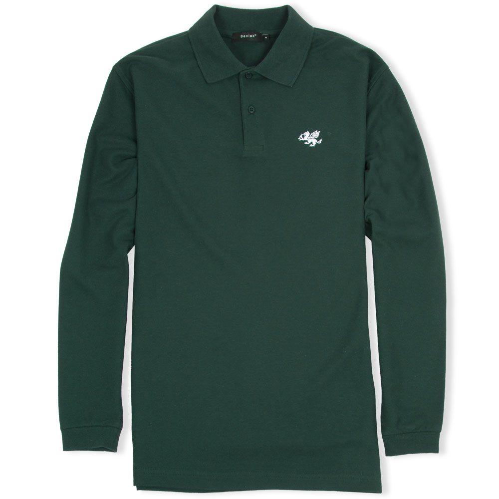 senlak long sleeved white dragon polo shirt forest green