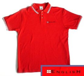 """English"" Embroidered Polo Shirt (Red with White Trim)"