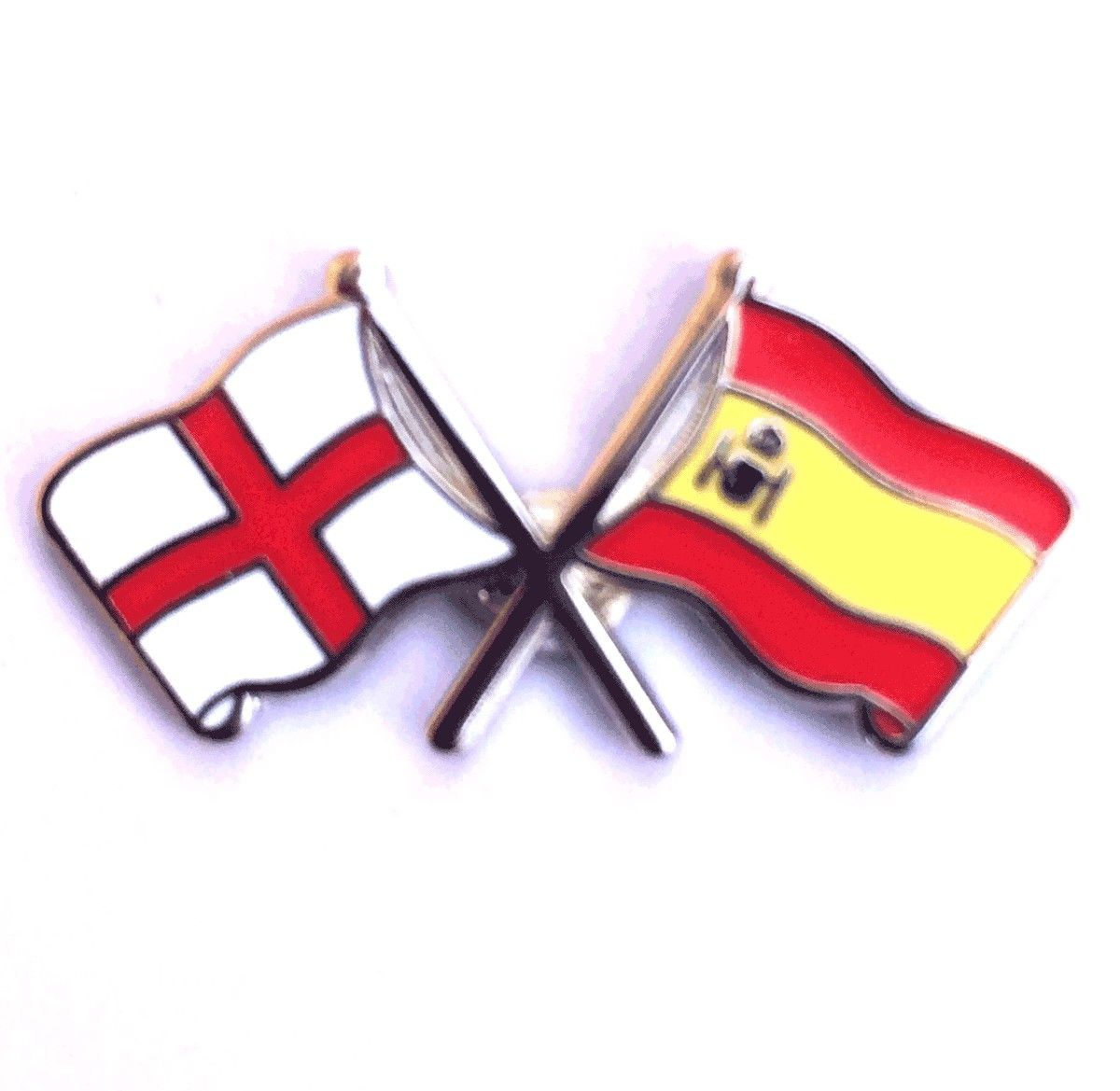 england flag and spanish flag crossed lapel badge