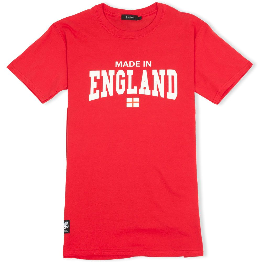 Made in england red t shirt with white dragon woven patch for Made in t shirts