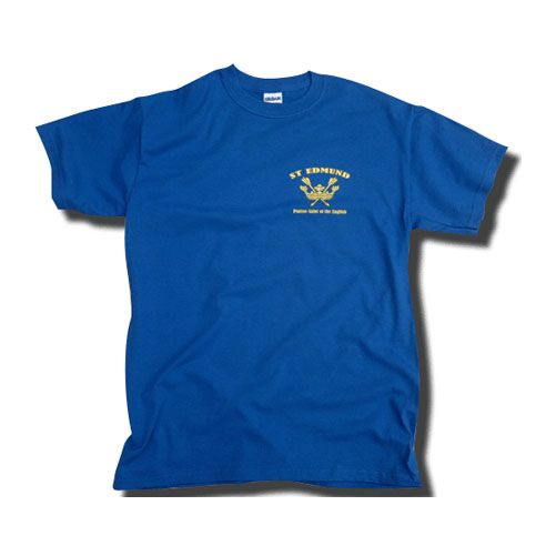 St Edmund Patron Saint of the English T-Shirt with Left Chest Print- Royal Blue