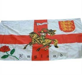 St George Cross Flag with Rose of England 5ft x 3ft