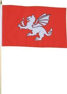 "White Dragon Large Handwaving Flag 12"" x 18"""