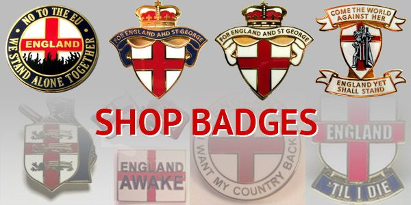 England T-shirts badges