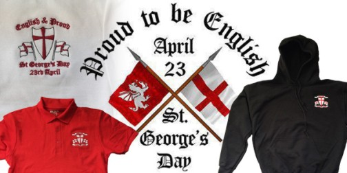 St George's Day badges, t-shirts, flags and clothing